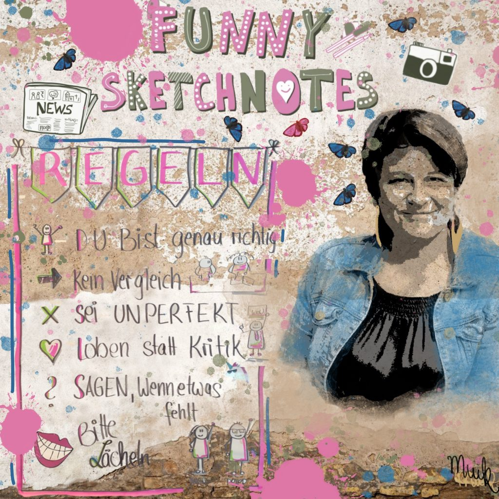 Collage Selbstporträt Funny Sketchnotes Muck's Art