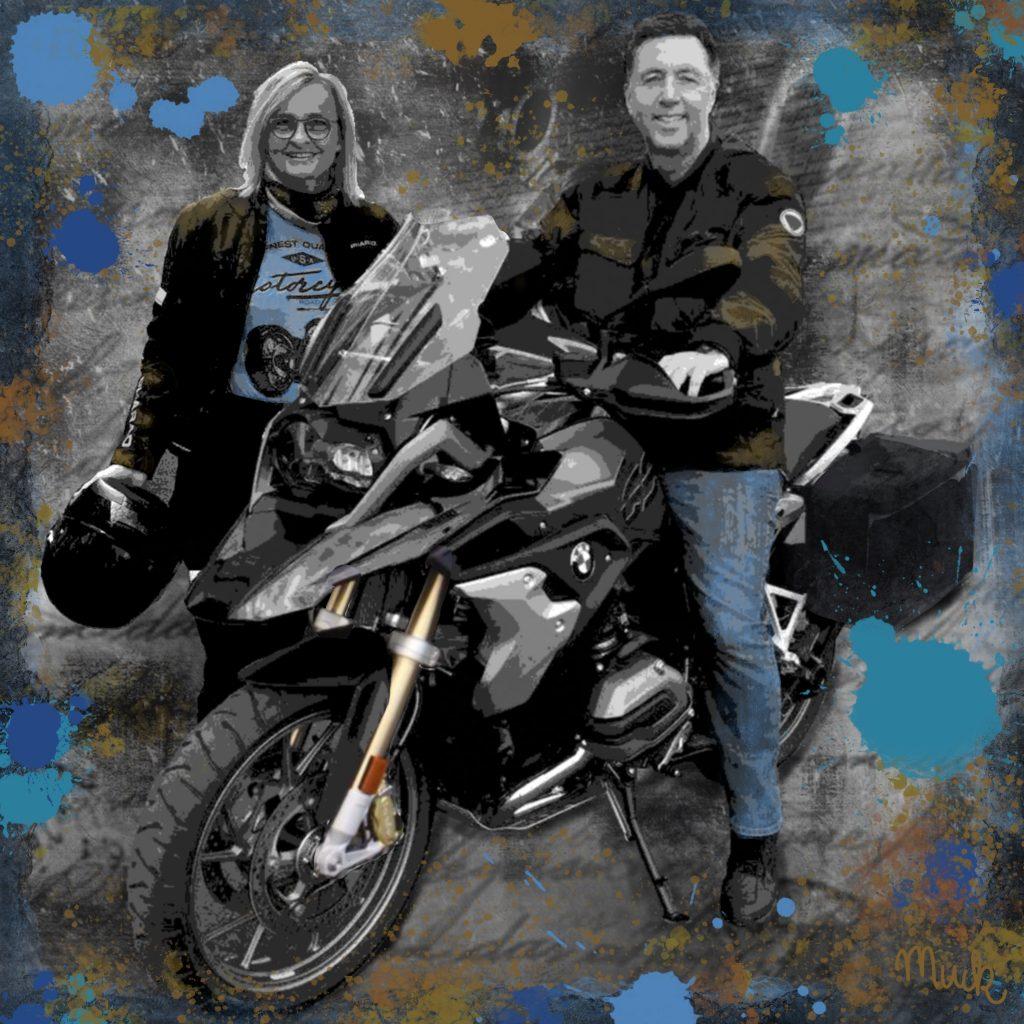 Collage Motorrad mit Personen Muck's Art